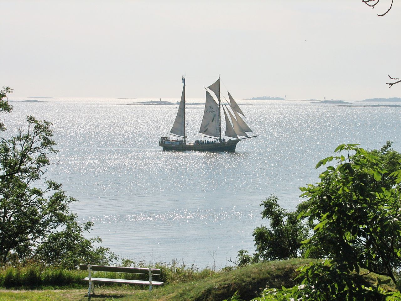 Schooner Ship Boat Sails Sailship Sea Sea And Sky Sunshine Summer Gulf Of Finland Nautical Vessel Transportation Mode Of Transport Tree Water Boat Sailboat Tranquil Scene Tranquility Clear Sky Scenics Nature Sea Day Outdoors suomenlinna rocks helsinki