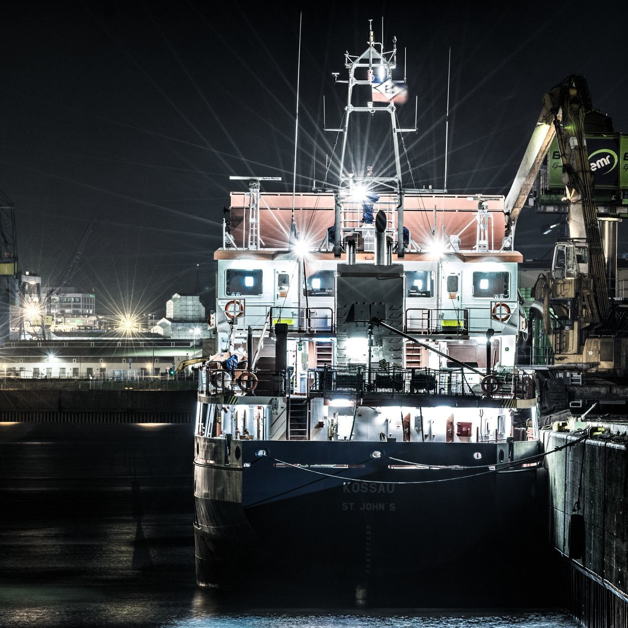 Kossau Architecture Building Exterior Commercial Dock Hamburg Harbour Harbor Illuminated Industry Mode Of Transport Moored Nautical Vessel Night No People Outdoors Ship Shipyard Transportation Water