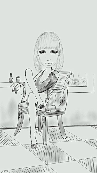 Rebelpunk Scotland Woman Portrait Black & White Blackandwhite Female Model Digital Drawing Bit Of Fun Self Portrait Selfie ✌