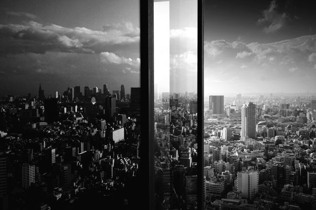 Tokyo in the Glass. Blackandwhite Monochrome Light And Shadow Cityscapes Tokyo