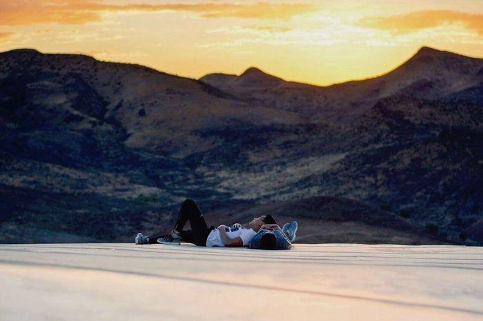 Secret love. Sunset Sky Two People Landscape Love Silence