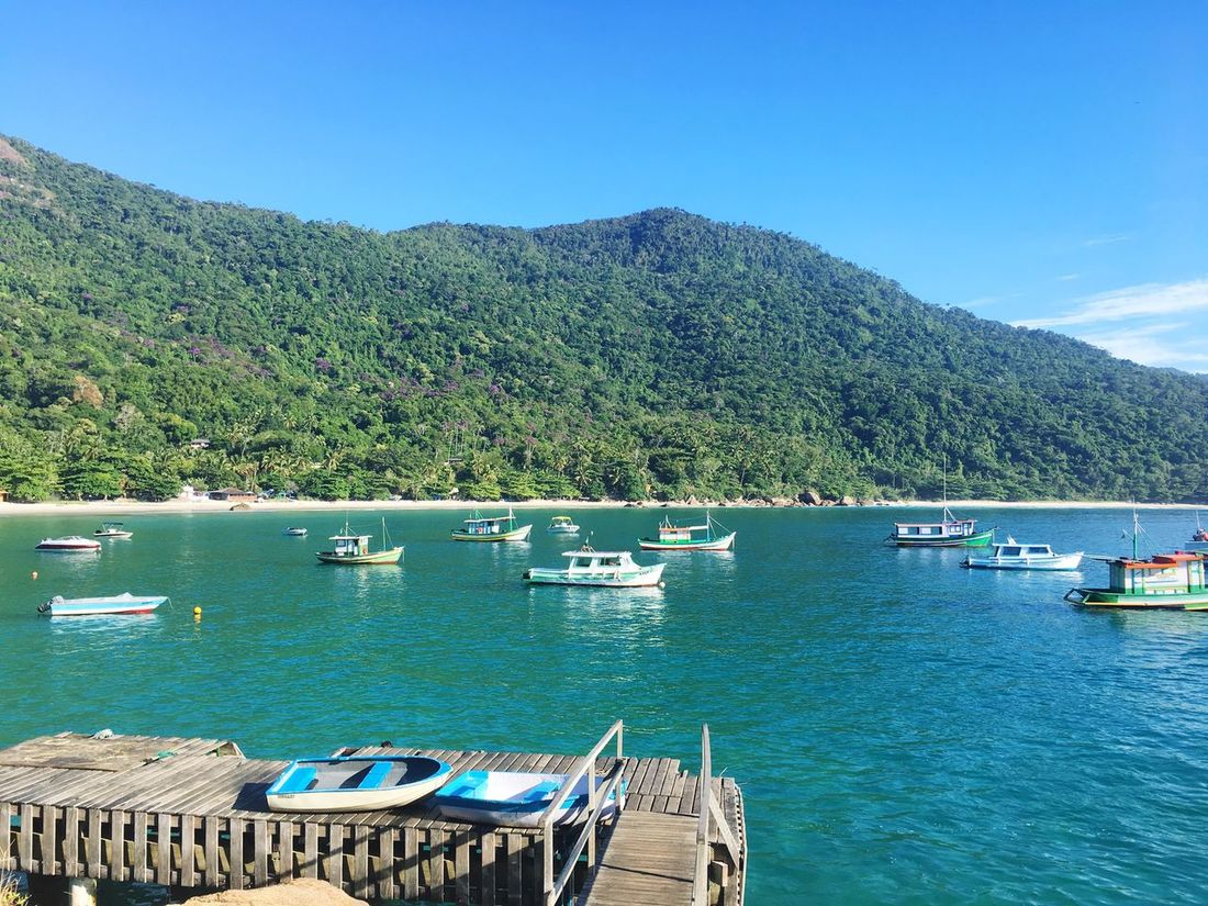 Beauty In Nature Nature Nautical Vessel Blue Tranquility Water Scenics Tranquil Scene Clear Sky Day Outdoors Mountain Tree No People Sea Pedal Boat Ilhagranderj AngraDosReis Angra Dos Reis Ilhagrande Tranquility Beauty In Nature AguaCristalina Cariocagram Horizon Over Water