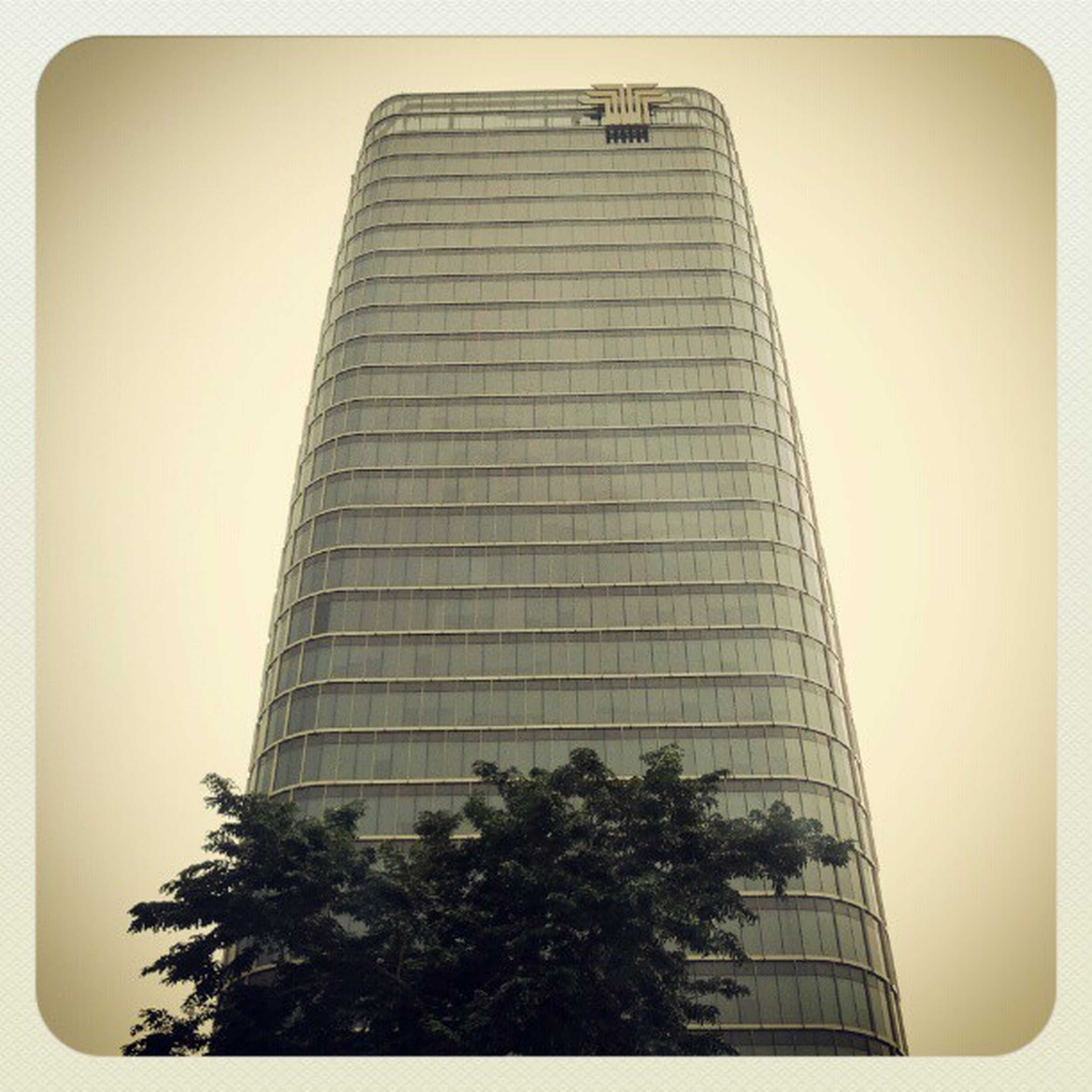 architecture, building exterior, built structure, low angle view, transfer print, auto post production filter, clear sky, tower, modern, tall - high, office building, tree, city, building, skyscraper, sky, tall, outdoors, day, no people