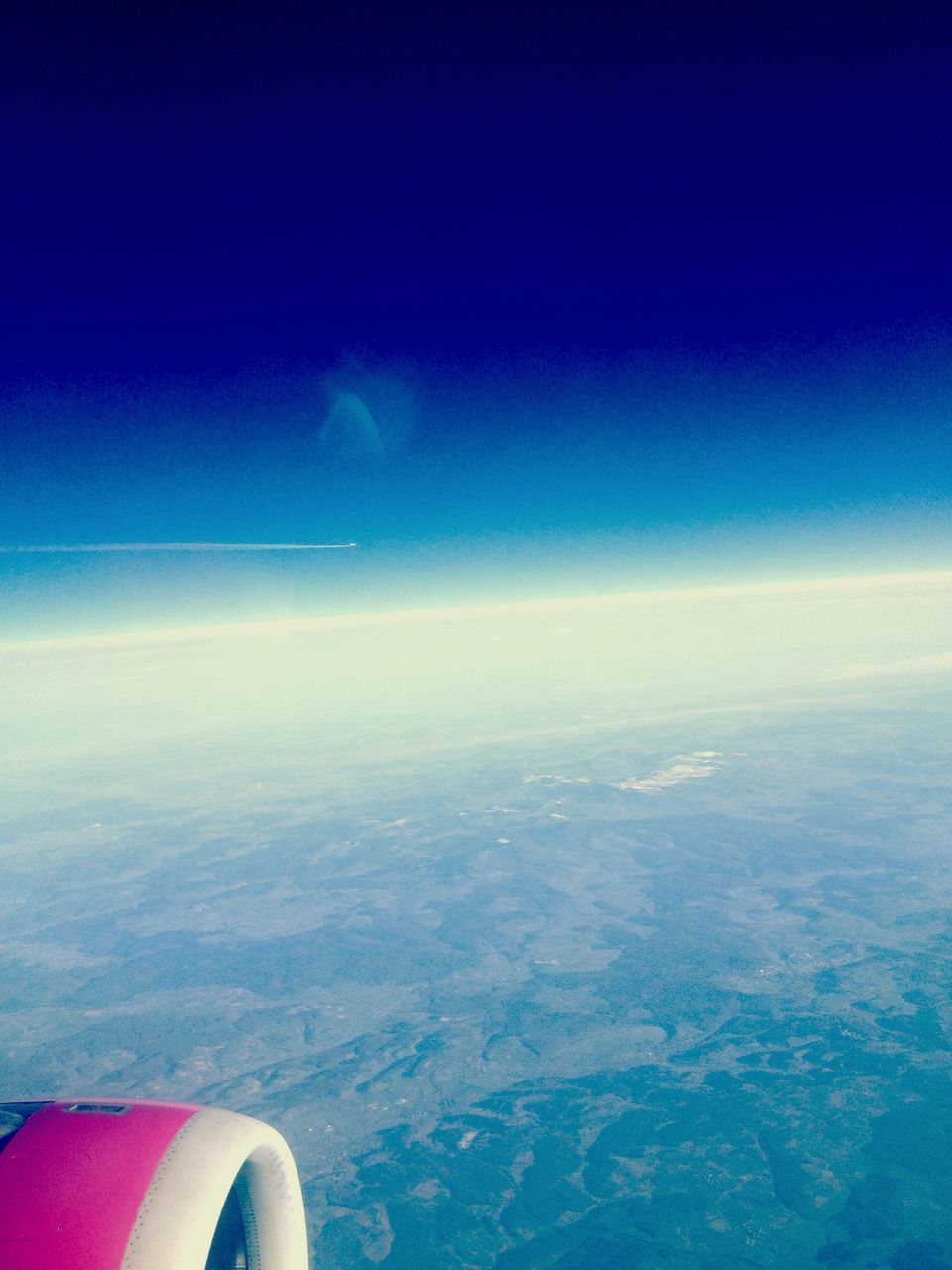 aerial view, nature, beauty in nature, scenics, blue, journey, transportation, airplane, flying, outdoors, sky, day, cloud - sky, mid-air, landscape, sea, water, airplane wing, no people