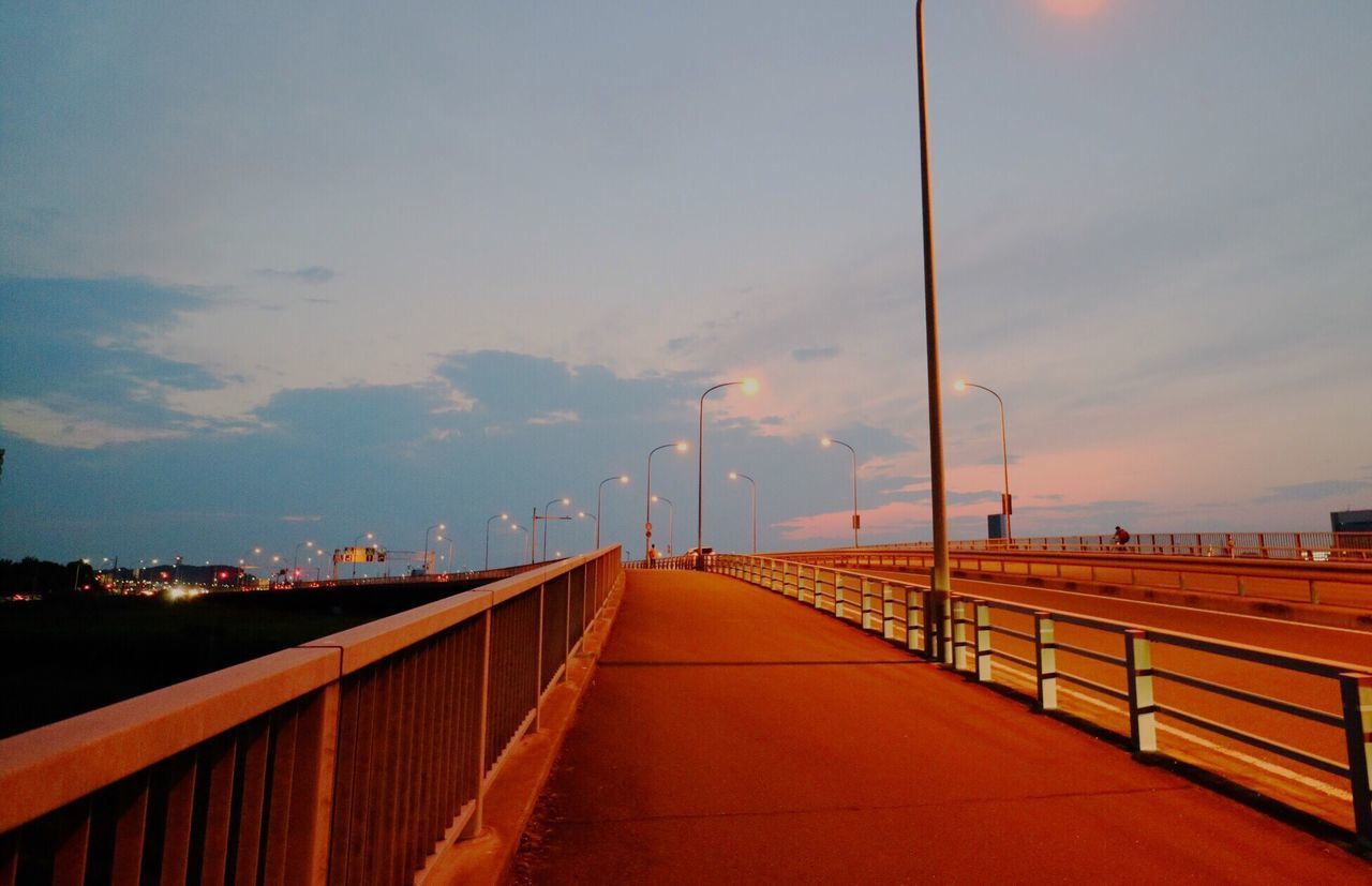 Sunset Railing Connection Bridge - Man Made Structure Outdoors Sky Built Structure Transportation Day No People Architecture Suspension Bridge The Way Forward River Footbridge Nature Water City