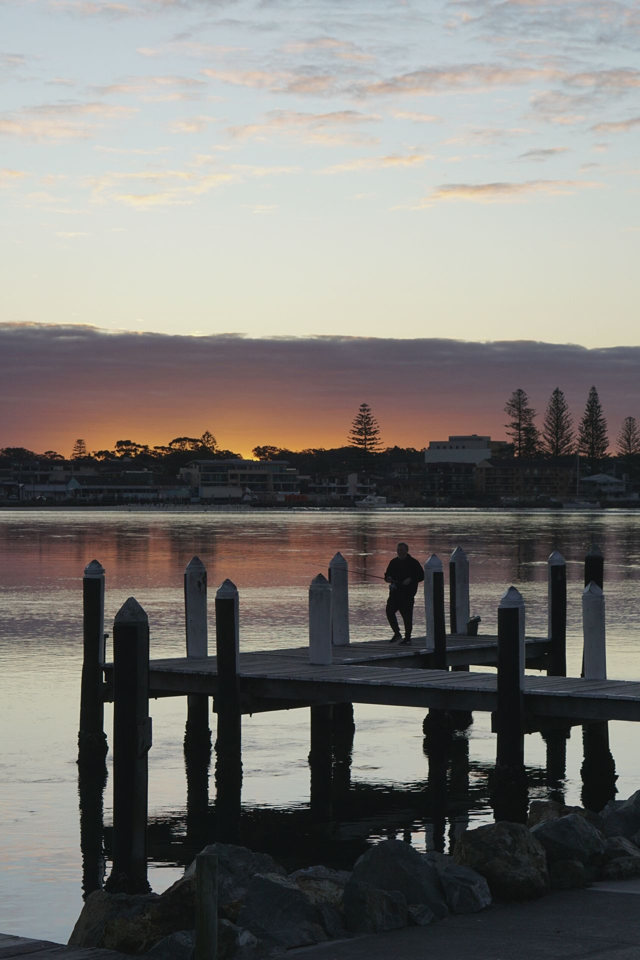 Water Pier Sunset Lake Nature Scenics Fishing Waterfront Tranquility Outdoors Beauty In Nature Forster NswSky EyeEmNewHere Silhouette People Togetherness Bridge - Man Made Structure Adult Day