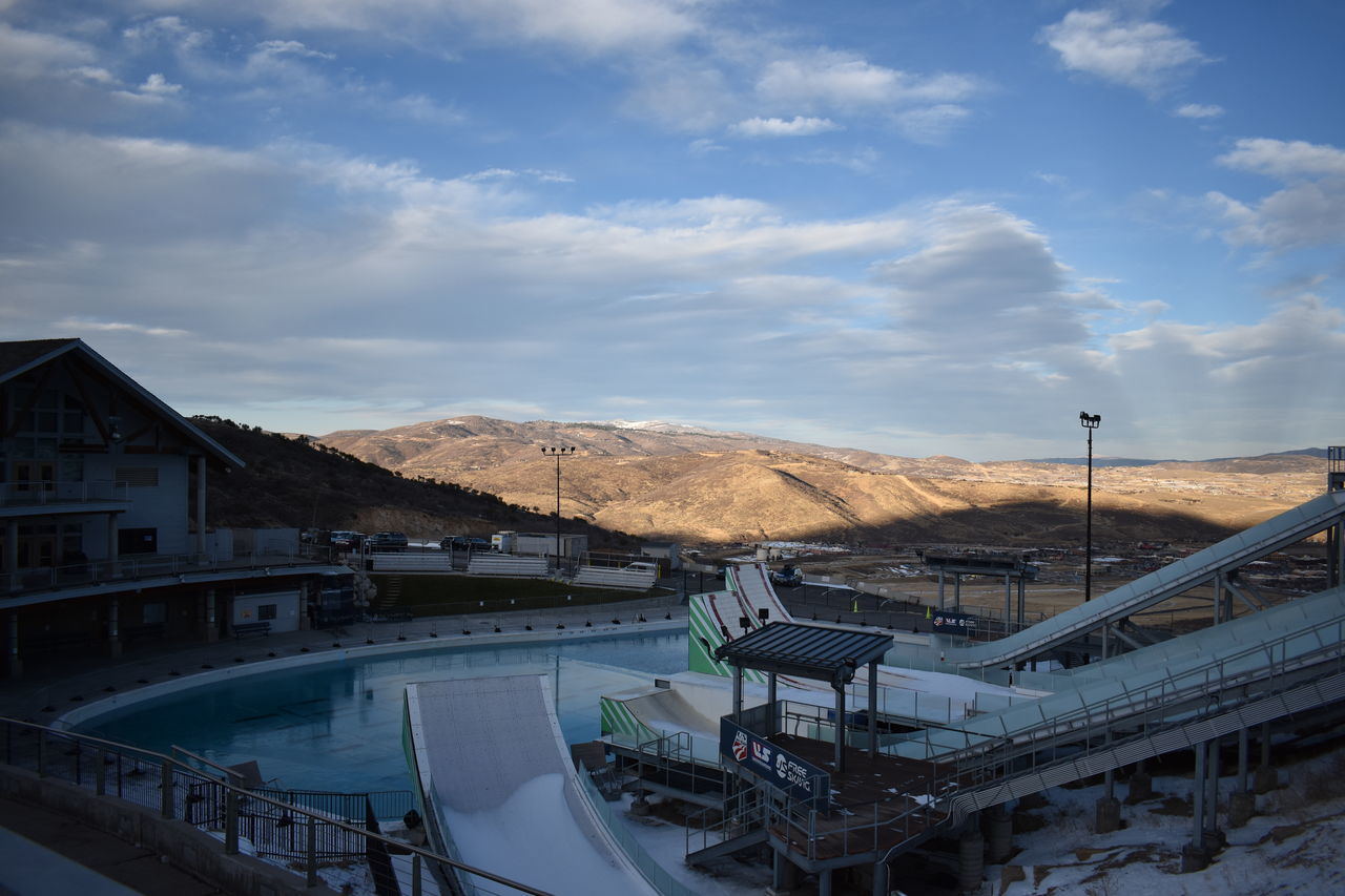 Beauty Clouds Cold Distance Light Medals Mountains Nighttime Off Season Olympic Training Center  Olympics Park City Pool Ramp Rings Salt Lake City Ski Sky Slopes Snow Snow ❄ Sunset Utah Water Winter