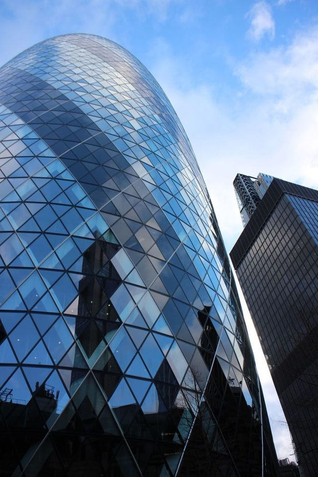 Architecture Built Structure Building Exterior Low Angle View Glass - Material Reflection Modern Office Building City Tall - High Tower Building Sky Skyscraper Blue Outdoors Day Glass Cloud - Sky Tall Gherkin Tower London City Life City Of London
