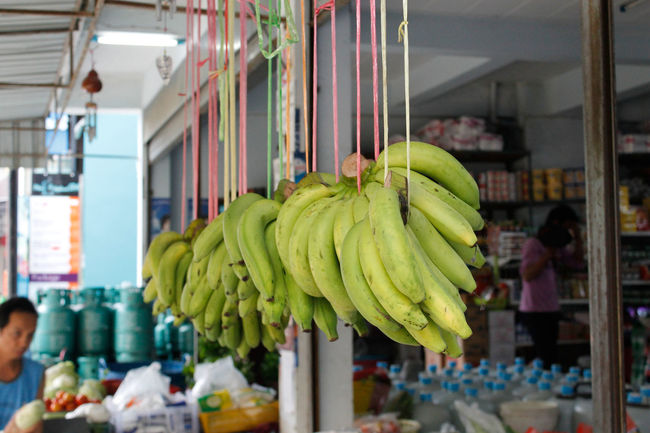 Abundance Arrangement Banana Thailand Bananas Choice Close-up Collection Display Focus On Foreground Food For Sale Freshness Fruit Green Bananas Hanging Banana Large Group Of Objects Market Market Stall Retail  Sale Shop Small Business Still Life Store Variation