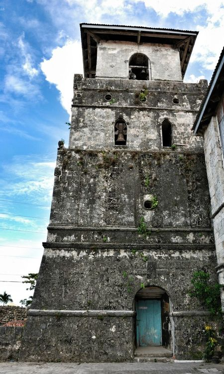 08.2009 Old Church Belfry Baclayon Church BACLAYON Bohol Philippines Travel Tower Bells Door