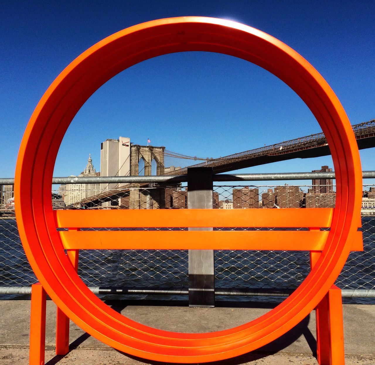circle, clear sky, outdoors, day, blue, no people, built structure, water, sky, architecture, nature