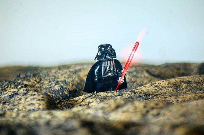 """I swear I'll destroy this planet once my new Deathstar is repaired. I hate sand!"" Darthvader Legodarthvader Darthvaderminifig Tatooine LEGO Toptoyphotos_lego"