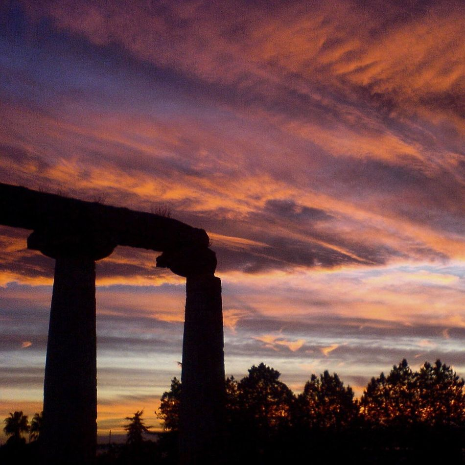 Sunset Silhouette Built Structure Low Angle View Architecture Sky Scenics Cloud - Sky Dramatic Sky Architectural Column Orange Color Industry Cloud Beauty In Nature Outdoors Nature Romantic Sky Atmosphere Majestic Magna Grecia Landscape Italy Basilicata Lucania