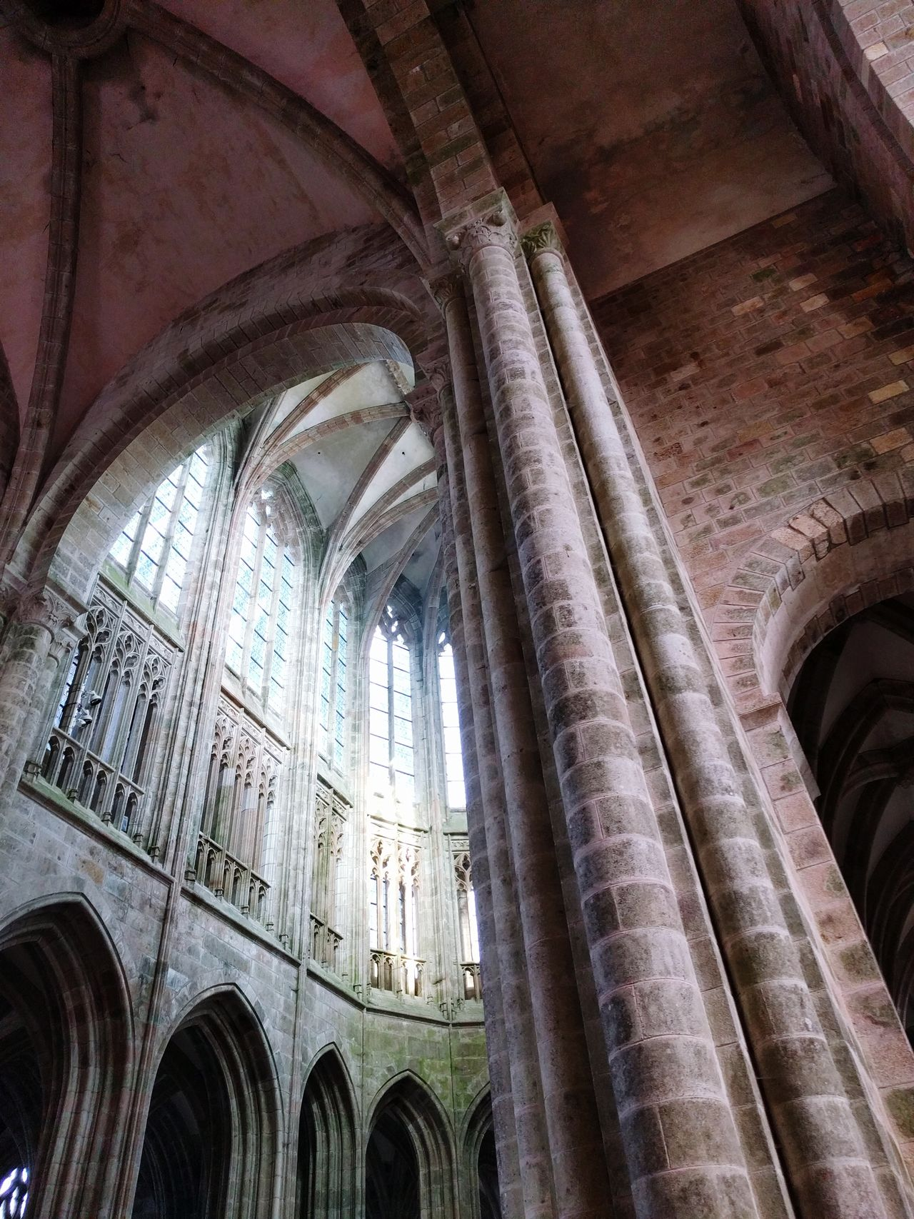 Indoors  Religion Architecture Architectural Column Abbey Arch Stone Material Mont St Michel Sacred Places Built Structure Architecture