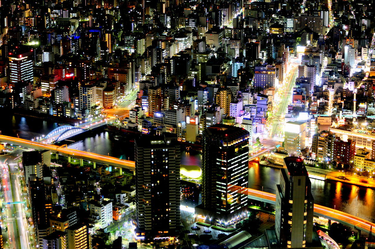 #skytree #Tokyo Architecture Building Exterior City City Life Cityscape Downtown District Growth Illuminated Modern Neon Night No People Outdoors Sky Skyscraper Travel Destinations Urban Skyline
