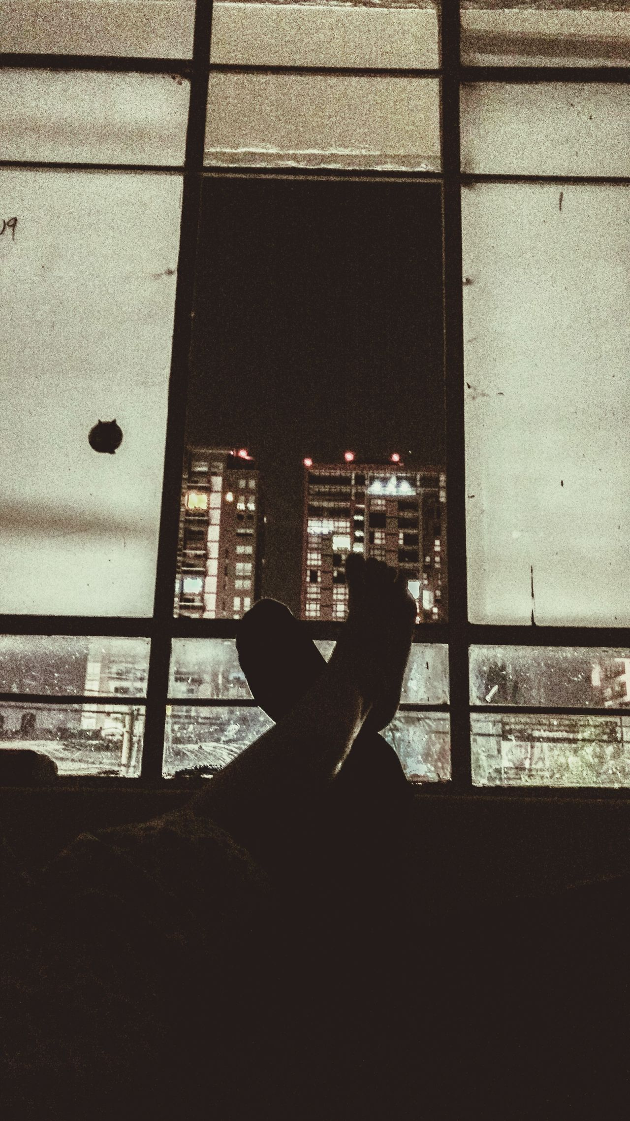 Lovers on a dark night Window Silhouette Skyscraper Night Sky Dark Illuminated Couple Photography