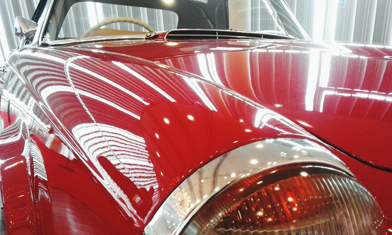 Close-up Mode Of Transport Transportation Red Vibrant Color Vehicle Hood Mercedes Benz World