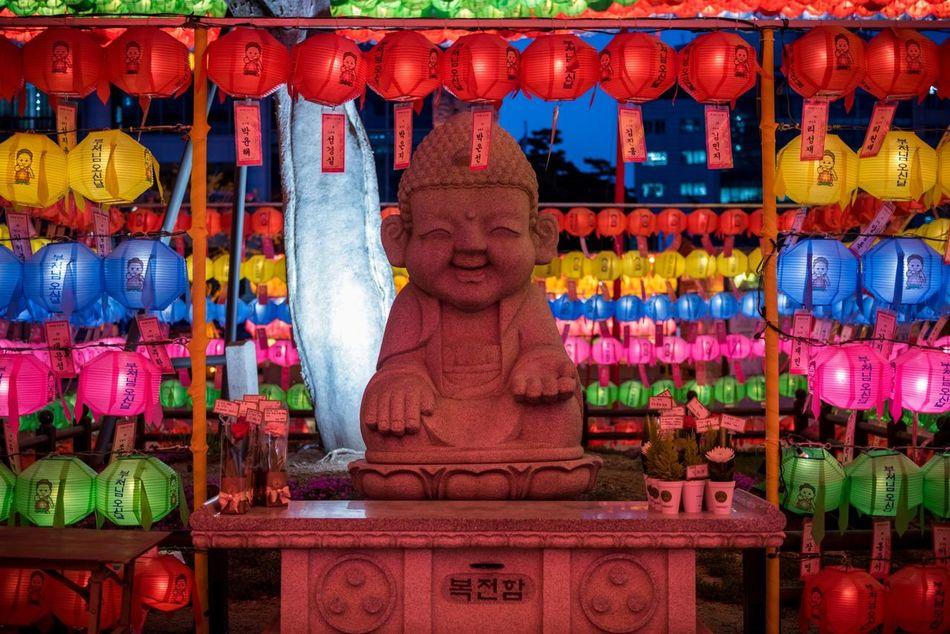 City ASIA Seoul, Korea Festival South Korea Colorful Jogyesa Temple Buddhist Temple Buddhist Monks Buddhist Jogyesa Temple Hanging Insadong Seoul Lanterns Spring Multi Colored Low Angle View Illuminated No People Statue Buddha Buddha Statue Buddha Image