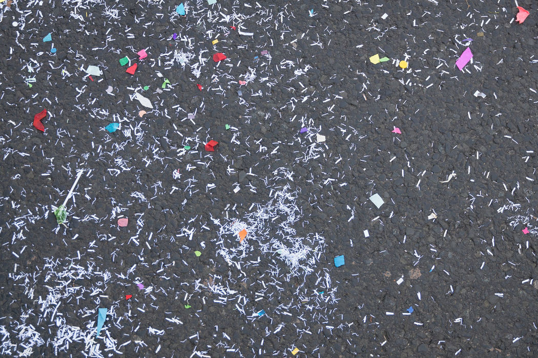 Leftover of carnival Abstract Backgrounds Carnival Colors Of Carnival Confetti Detail Fastnacht Full Frame Leftbehind Leftover On The Ground On The Road Showcase: February Trash Wallpaper