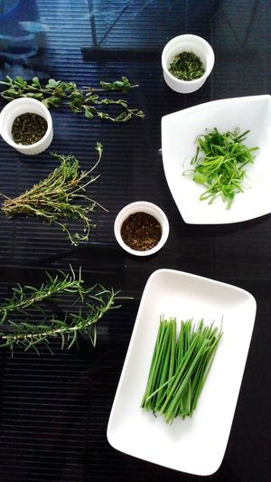 Herbs and black ground Herb Freshness Savory Food Black Background Green Color Indoors  EyEmNewHere No People My Food Project
