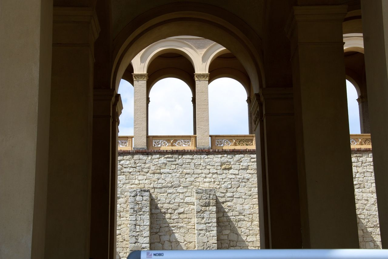 architecture, arch, built structure, history, day, architectural column, window, tourism, travel destinations, no people, ancient, indoors, building exterior, sky