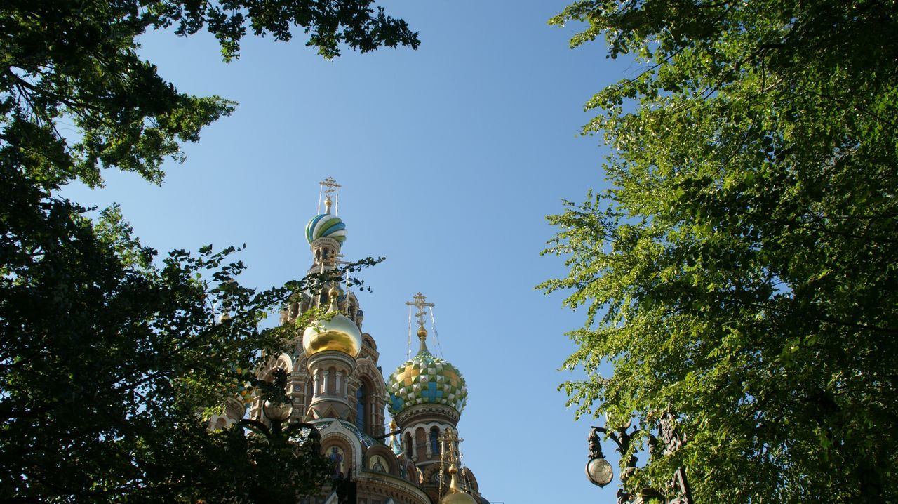Golden Domes of the Savior on the Spilled Blood Church . Sony A350 SONY Alpha350 Low Angle View Religion Place Of Worship Church Architecture Tourism Famous Place Travel Destinations Clear Sky Architecture History Historical Monuments Religious Architecture Historical Building Touristic Tourist Destination Russia