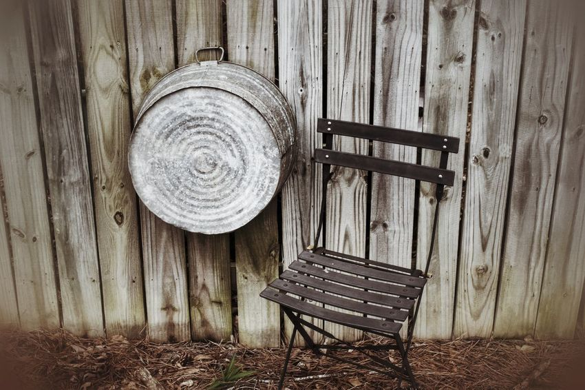 Fence Leaves Fence Slats Tub Chair Outdoors In The Yard Weathered Rustic Wood Nature Showcase March