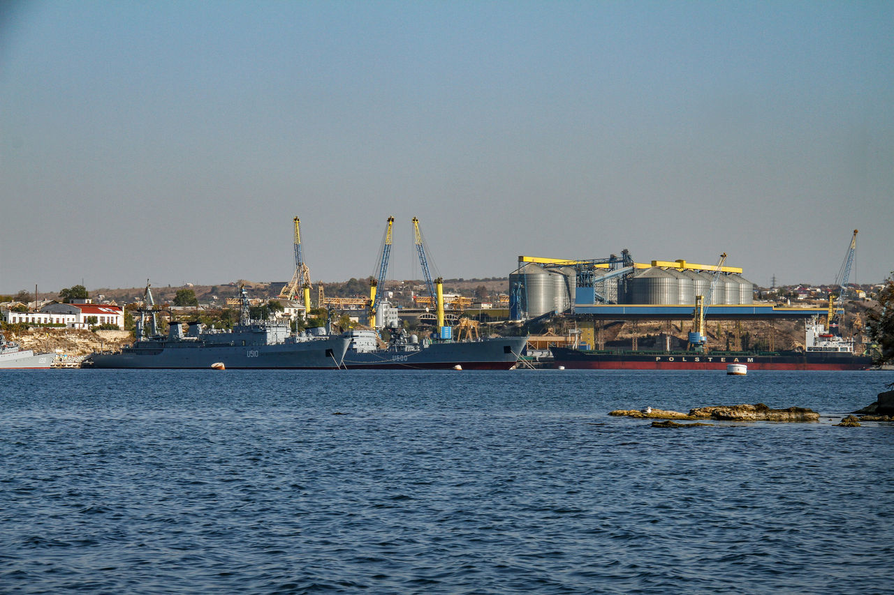 Harbour Sevastopol  Architecture Building Exterior Clear Sky Commercial Dock Day Drilling Rig Harbor Industry Nature Nautical Vessel No People Oil Industry Oil Pump Outdoors Port Crane Sea Sky Transportation Warships Water Waterfront