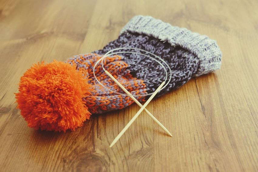 wooly hat with knitting needle Handcrafted Knitting Wear Handmade Crafts Handmade Knitting Wool Wool Hat Wooly Knitted  Wool Knitt Knitting Knitting Project Knitting Needle Hats