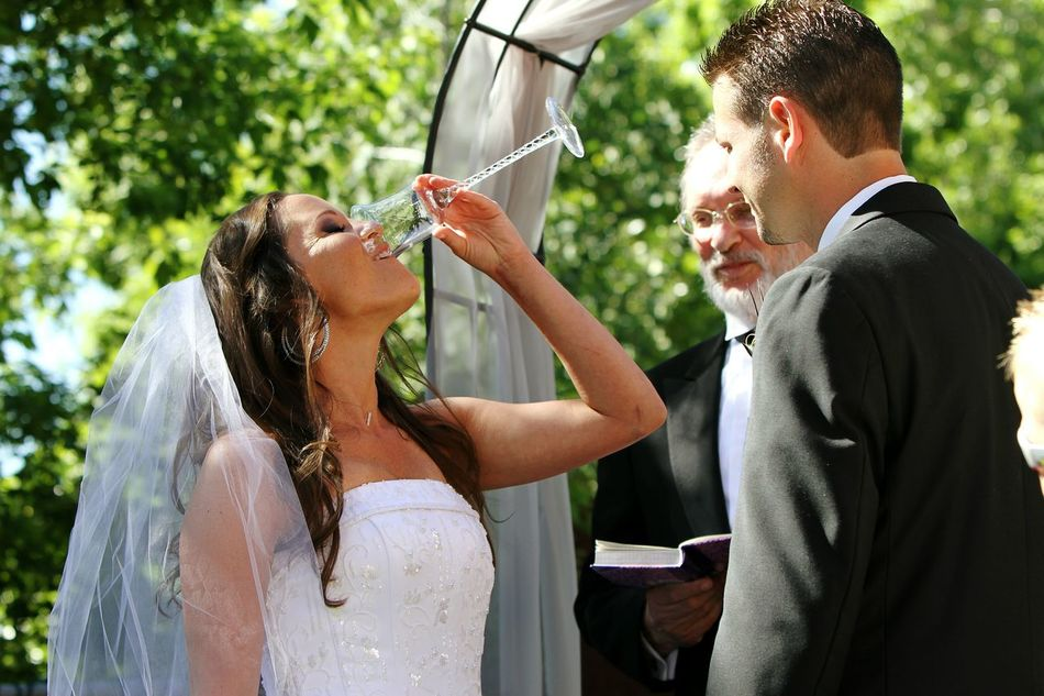 Bottoms Up Jewish Wedding Bride.