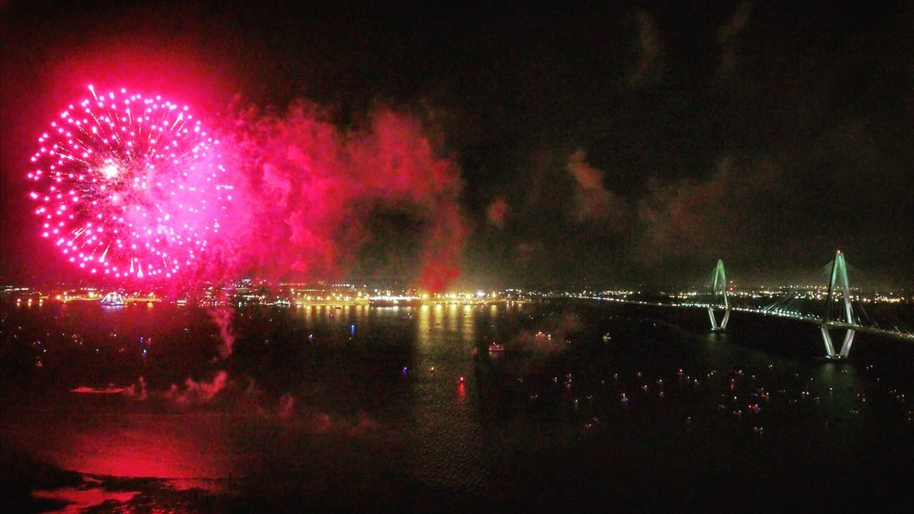 Charleston Ravenal Bridge Fireworks Bridge Water A Bird's Eye View