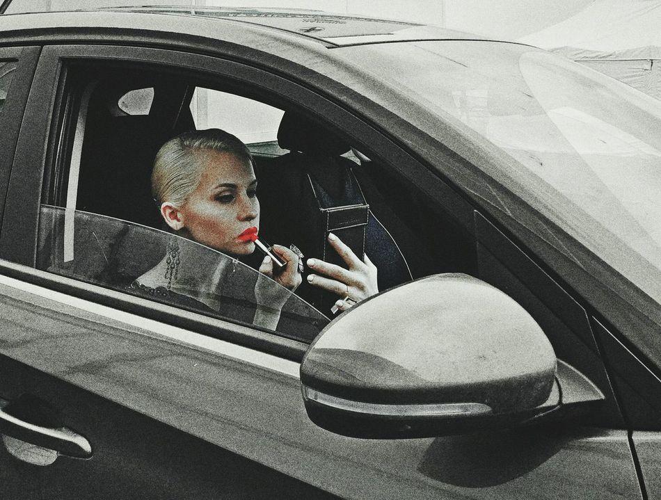 Eva Redlipstick Red Blonde Girl Girl In Car Vehicle Interior Transportation Black Car And Girl First Eyeem Photo