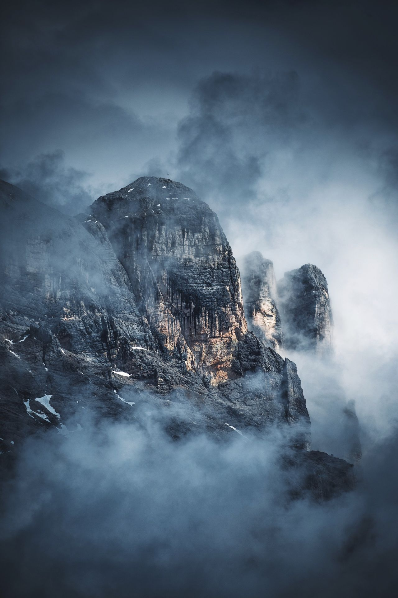Put your fog pants on. Nature Fog Beauty In Nature Rock - Object No People Outdoors Scenics Cold Temperature Cloud - Sky Winter Sky Day Mountain Landscape Dolomites, Italy