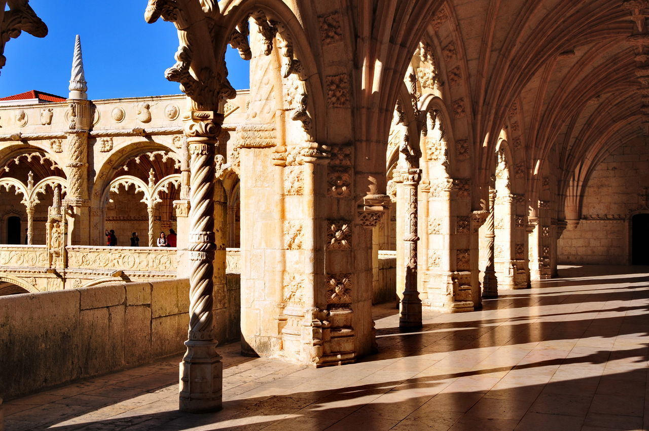 cloister2 Arch Architectural Column Architecture Built Structure Cloister Day Lisboa Portugal Monastero Dos Jeronimos No People Outdoors Place Of Worship Religion Statue Travel Destinations
