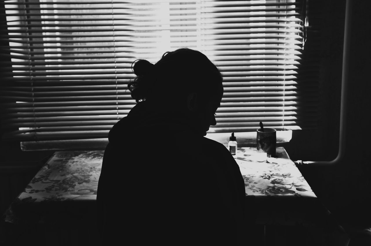 Black And White Black And White Photography Blackandwhite Blinds Day Indoors  Lifestyles Lines Mammal One Person People Real People Rear View Shadow Sitting Standing The Week On EyeEm Window Women