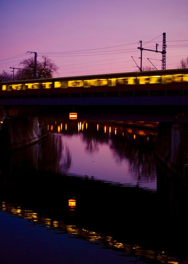 My Eyes My Berlin Night Night Lights Night View Transportation Architecture Reflection Reflected Glory Silhouette Railway Bridge Motion Motion Blur Overnight Success TakeoverContrast Fine Art Street Photography Outdoor Lines, Colors & Textures Urban Exploration Urban Geometry Capturing Motion Fantasy Dreaming Landscapes Film EyeEm Best Shots