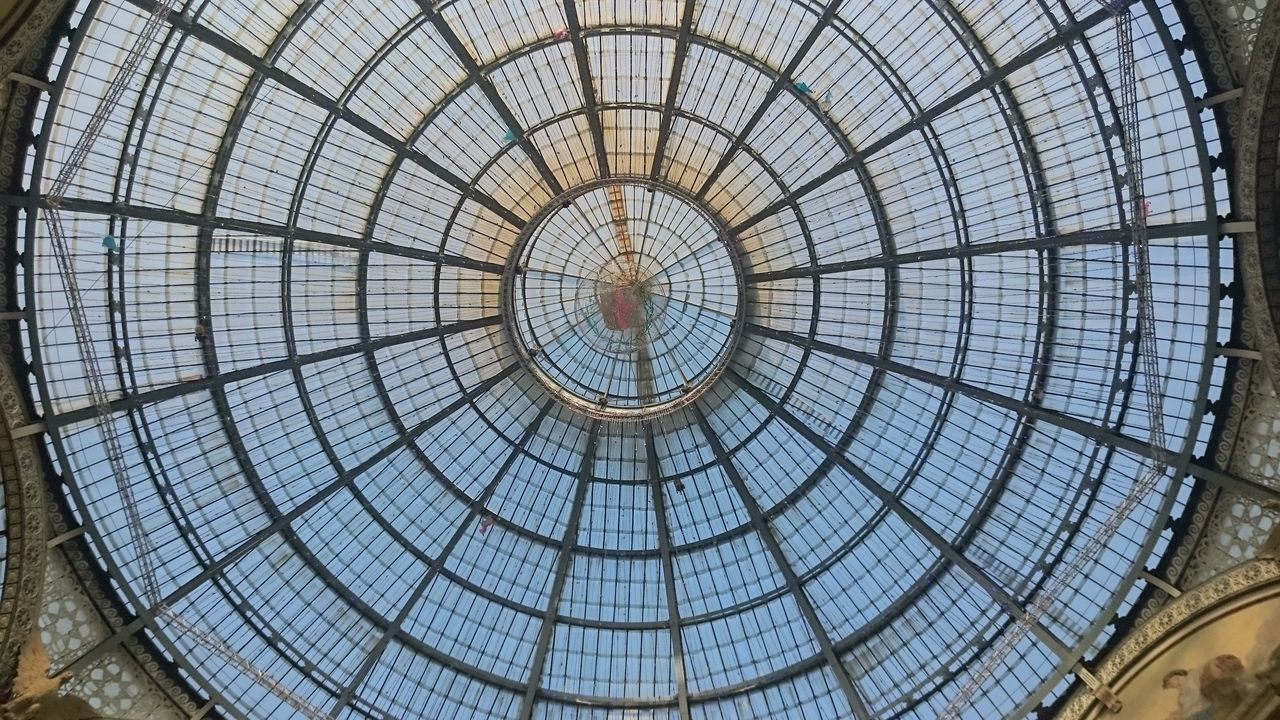 dome, architecture, built structure, architectural feature, glass - material, indoors, cupola, ceiling, circle, travel destinations, pattern, low angle view, modern, concentric, backgrounds, full frame, day, no people, city