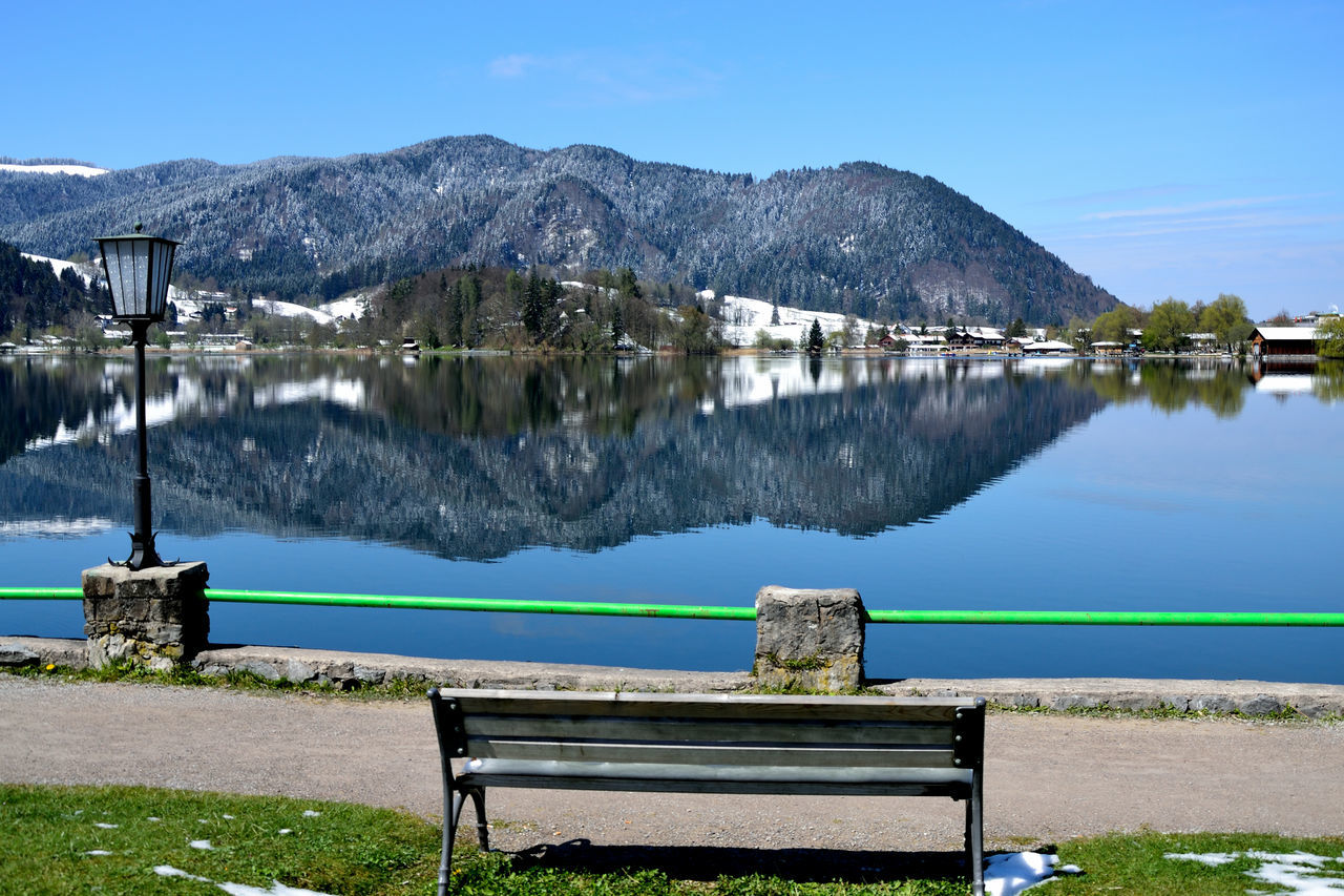 Schliersee Water Lake Reflection Sky Blue Outdoors No People Mountain Day Nature Tree Clear Sky Symmetry Beauty In Nature Reflection Mirroring In Water Latern Seat