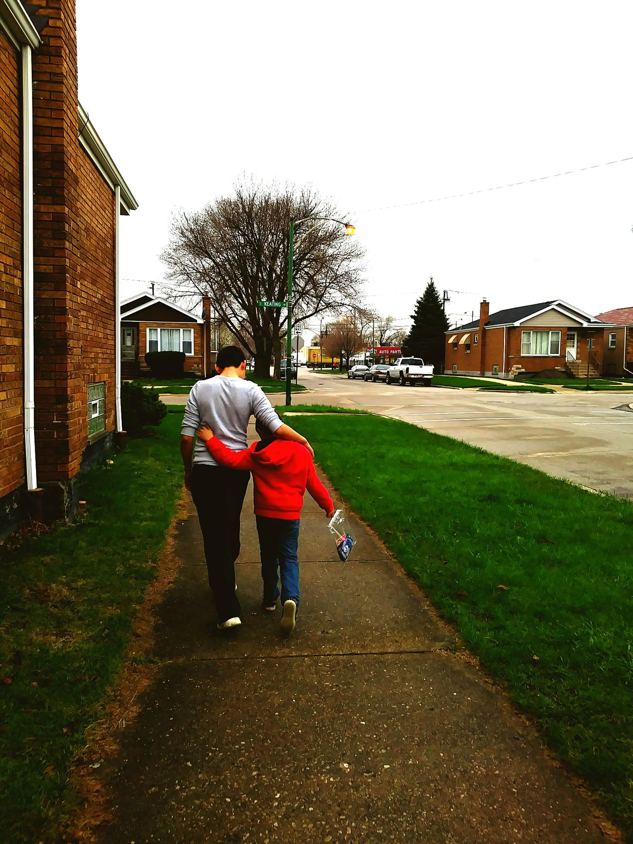 Bigbrotherlittlebrother Family First Red Sweater Chicago Realpeople Afterschool  Littlebrothersarentsobad Togetherness Outdoors Walking Two People House Walkwithme Focus On Foreground