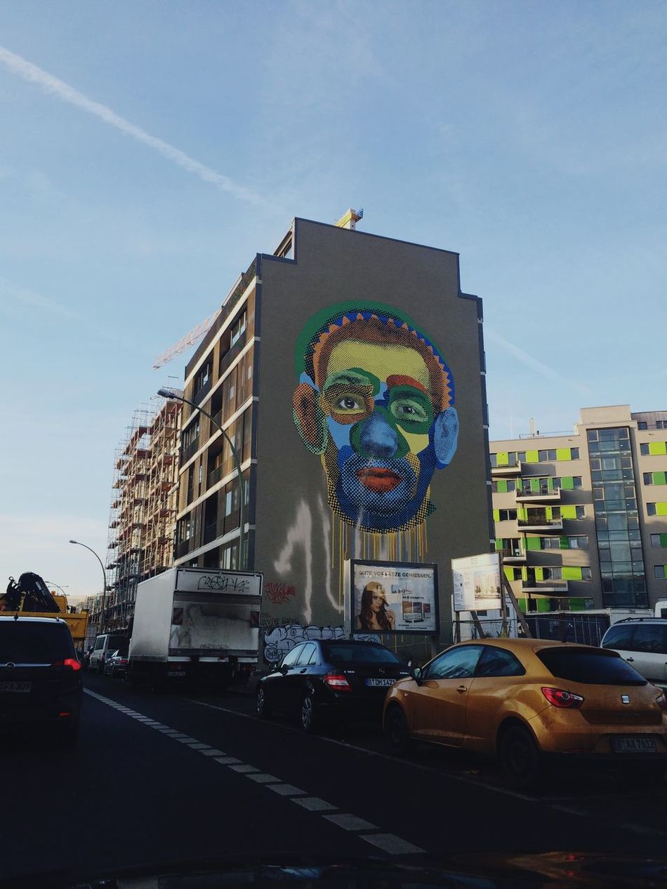 Building Exterior Car Transportation Land Vehicle Architecture Built Structure Mode Of Transport Road Real People City Sky Outdoors Multi Colored Day One Person Street Art Obama Kreuzberg Berlin
