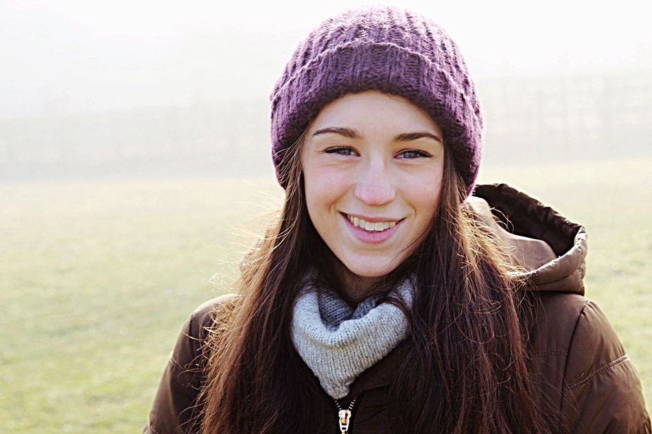 Portrait Smiling Young Adult Girlfriend Love Headshot Front View Real People Young Women One Person Beautiful Woman Knit Hat Outdoors Close-up One Young Woman Only Leisure Activity Day Warm Clothing Cheerful Women New Talent