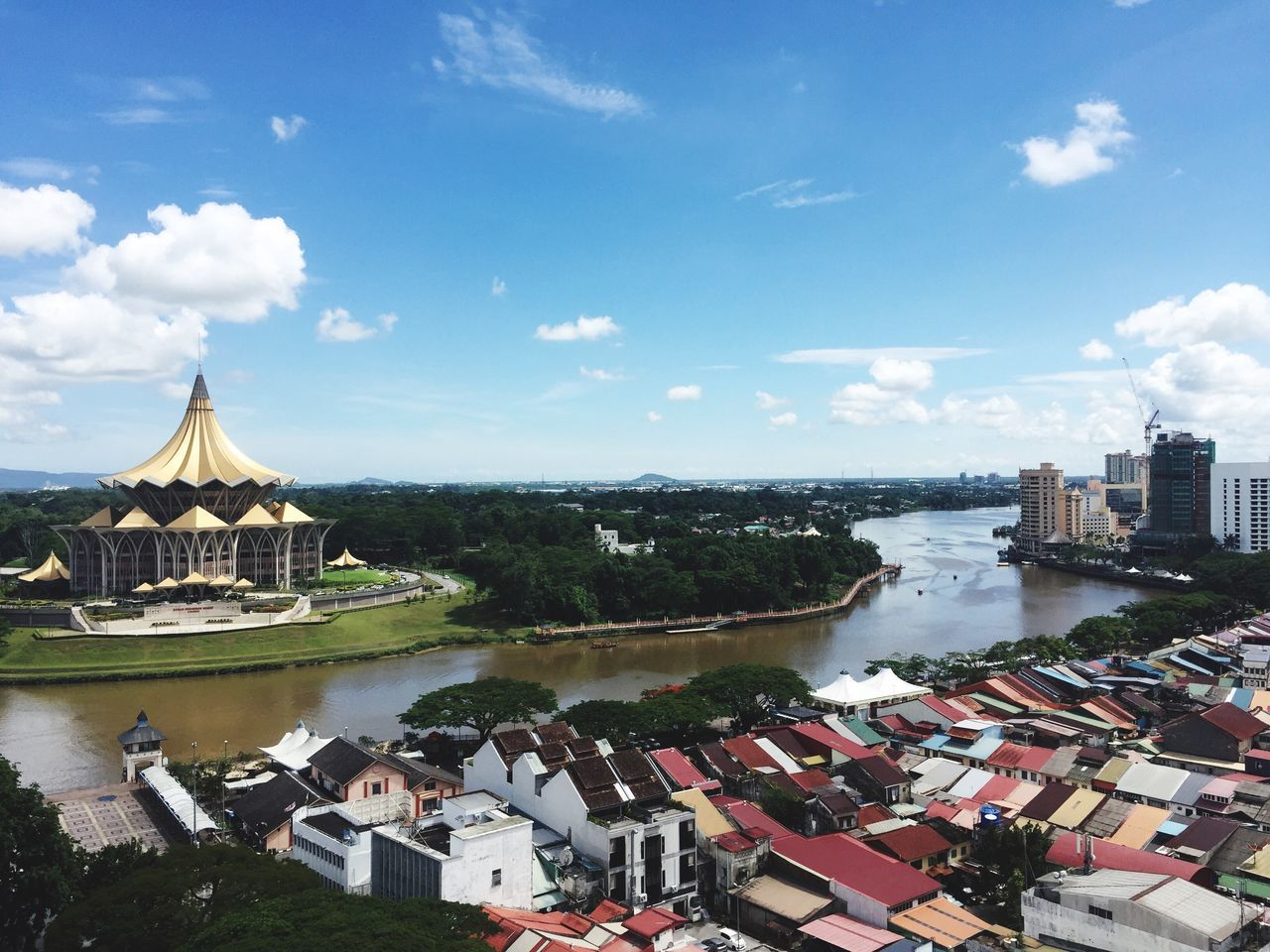 High Angle View Of Houses And Parliament Building At Sarawak