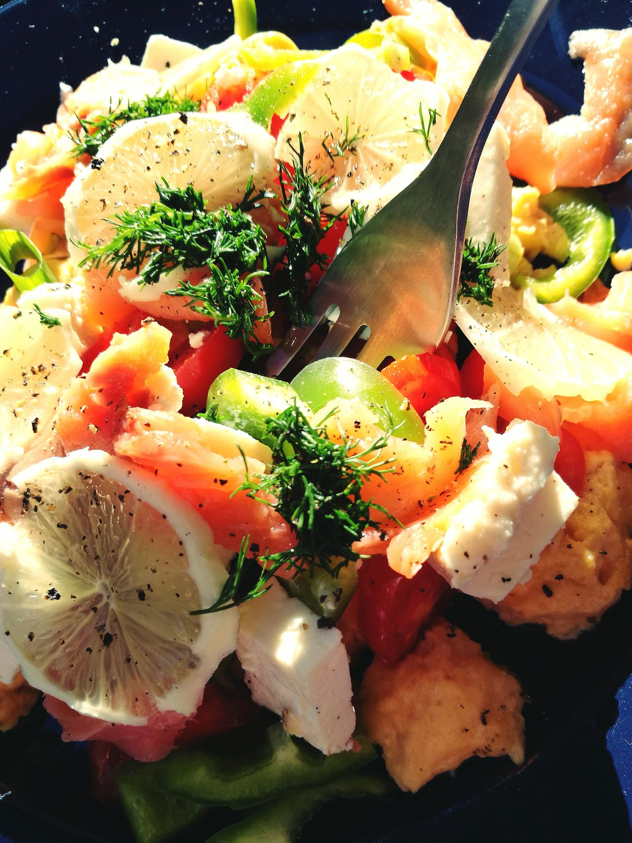 Food And Drink Food Freshness Healthy Eating No People Breakfast Brunch Salad Scrumbled Egg Ready-to-eat Dish Fork Smokedsalmon Close-up Freshness Fitness Diet Mediterranean Food