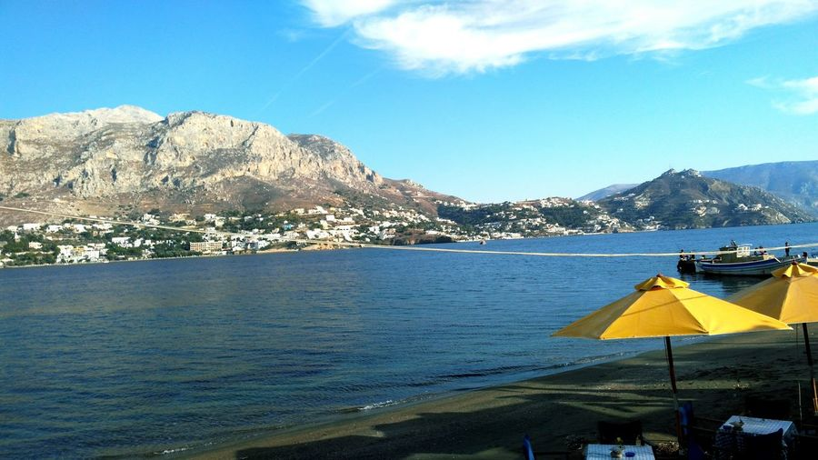 Relaxing at a beautiful island Telendos Tranquility Mountain Water Sky Greece Kalymnos Relaxing Tourism