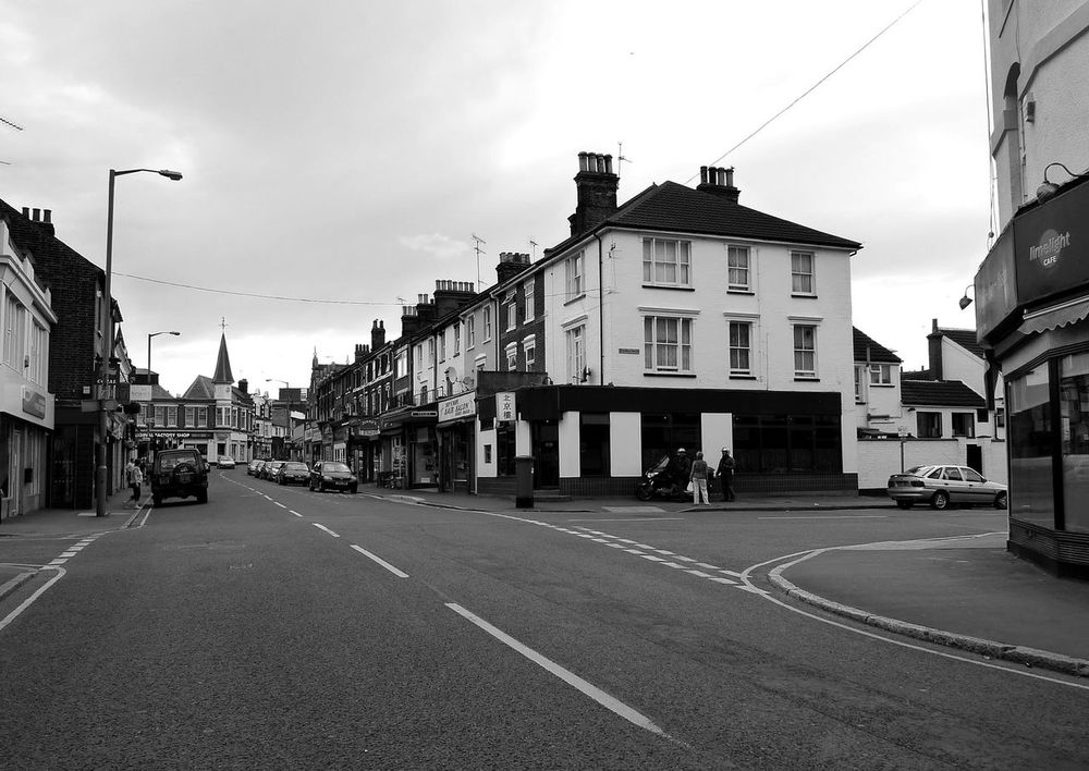 Dovercourt High Street, harwich, Essex Architecture Blackandwhite Photography Building Exterior Built Structure City Cloud - Sky Day Harwich High Street No People Outdoors Road Sky