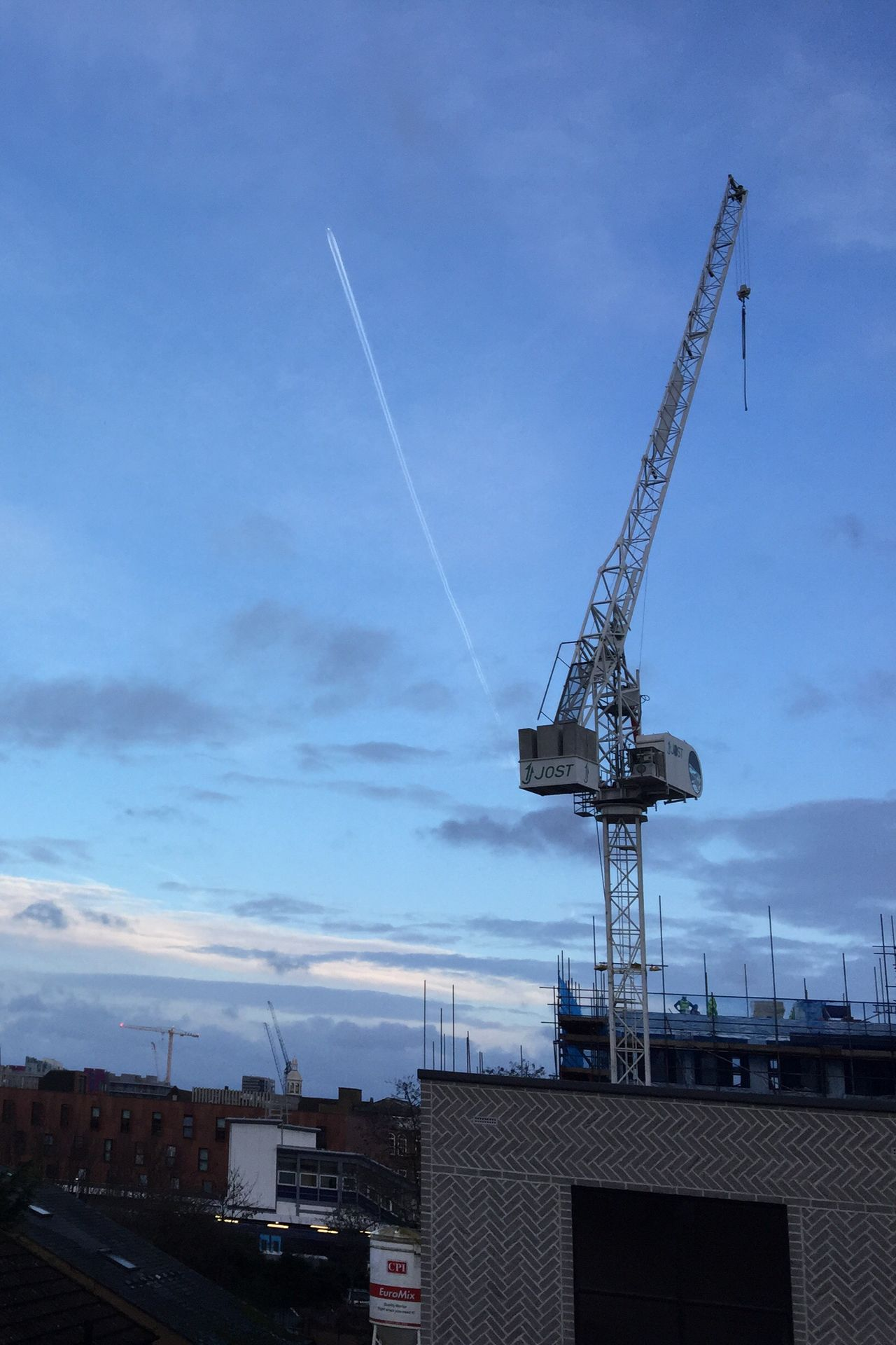 Crane Construction Site Contructionwork New Build V For Victory Formations Message In The Sky