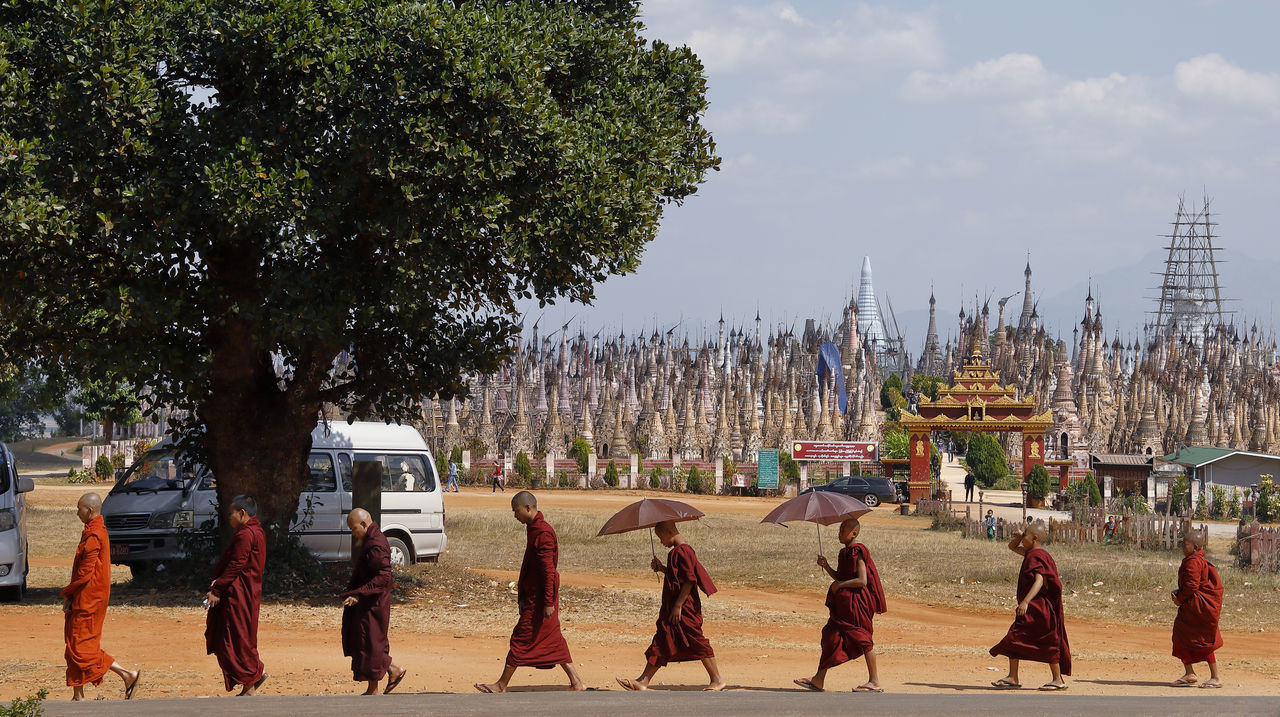 Buddhism Buddhist Buddhist Monk Buddhist Monks Buddhist Temple Culture Historic Historical Building Historical Sights Men Monk  Monks Monks Walk Myanmar One By One Outdoors Pagoda People People Photography Red Religion Religious Architecture Sky Tradition Tree