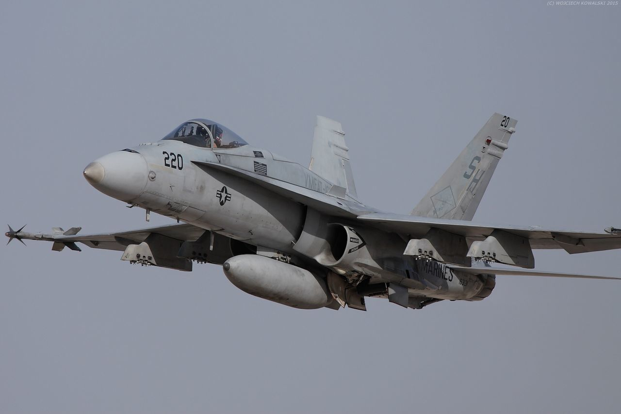 Air Vehicle Airplane Day F-18 F-18 Hornet Fighter Plane Flying Marine Corps Marines Military Military Airplane Naval No People Outdoors Sky Transportation USMC