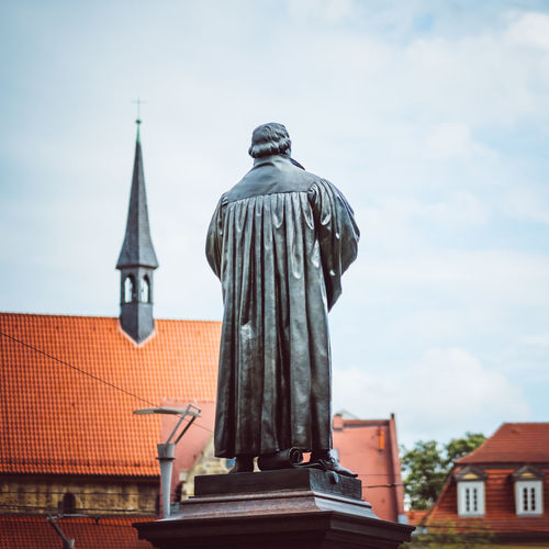 Statue of the Reformer Martin Luther in Erfurt Erfurt Lutherdenkmal Lutherstadt Martin Luther Memorial Religion And Tradition Statue Anger Christ Erfurtcity Germany Landmark Luther Lutheran Lutherjahr2017 One Person People Portrait Reformation Reformation Day Religion Religion And Beliefs Religious  Sculpture Summer