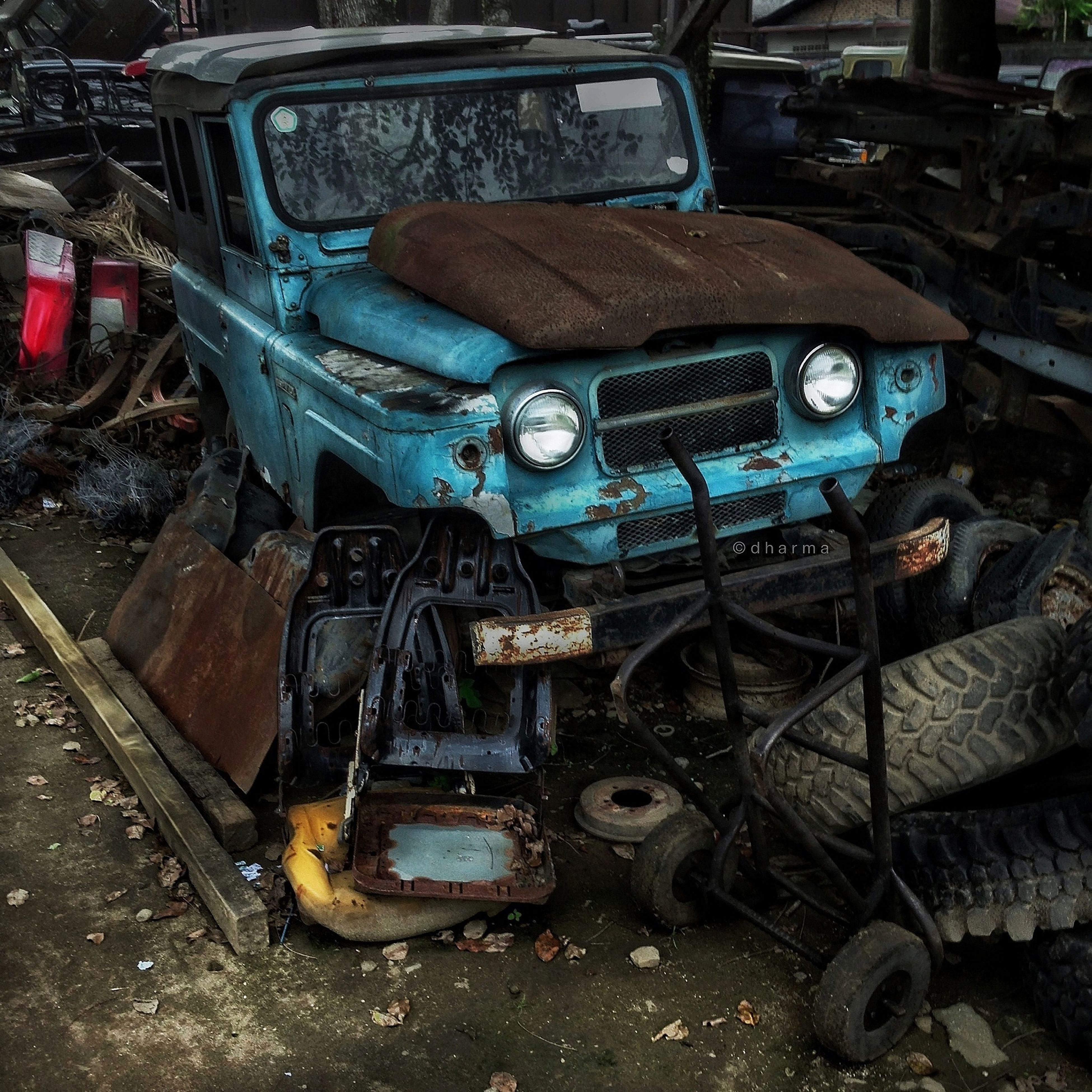 abandoned, transportation, obsolete, mode of transport, land vehicle, damaged, run-down, old, deterioration, industry, car, machinery, stationary, metal, machine part, messy, construction site, day, factory, high angle view